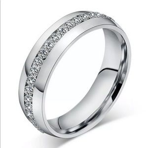 6mm Crystal Stainless Steel Engagement Silver Ring